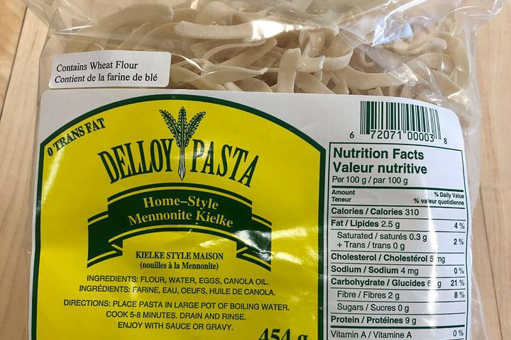 bag of pasta made in saskatoon